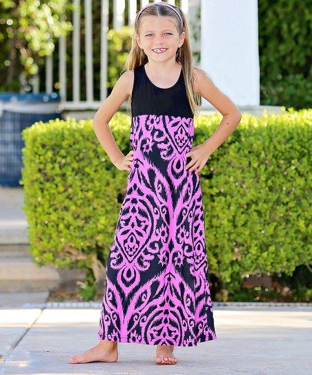 a95e1c2dcd1b Mayah Kay Fashion Boutique Pink & Black Paisley Maxi Dress - Toddler ...
