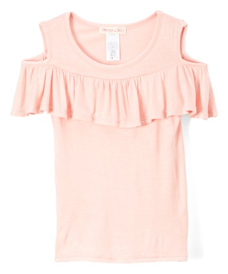 3d341aa15455be Colette Lilly Blush Ruffle Cold Shoulder Top - Girls | Zulily