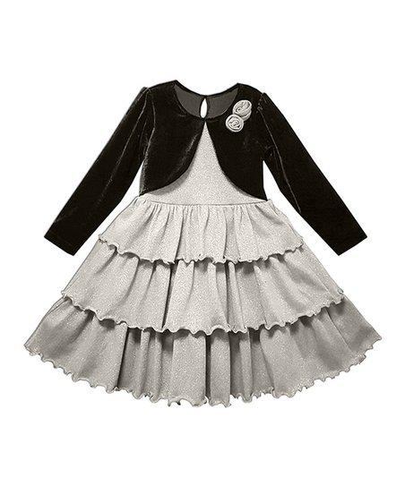 da29ed073fec4d love this product Silver   Black Ruffle A-Line Dress - Toddler   Girls