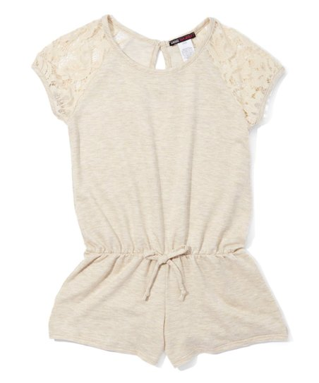 64f4c616dcca Miss Majesty Oatmeal Lace-Accent French Terry Romper - Girls