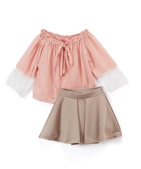 40854561530a1 Sugar Berry Dusty Rose Lace Off-Shoulder Top   Taupe Skater Skirt ...