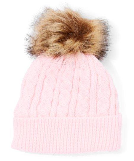 67e83e64c Pink Cable-Knit Pom-Pom Beanie - Girls