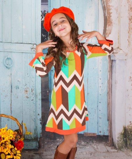 a13fec649c6 love this product Orange Geometric Twiggy Dress - Toddler   Girls