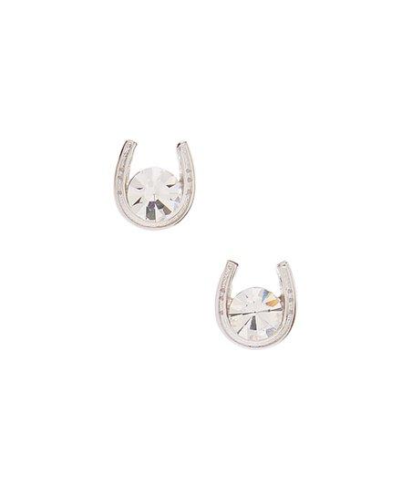 Rhinestone Sterling Silver Horseshoe Stud Earrings