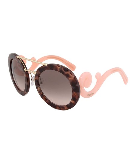 81390d95ff love this product Pink   Brown Tortoise Swirl Round Sunglasses
