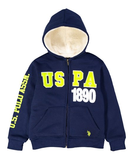 68b0af4f U.S. Polo Assn. Classic Navy Fleece Sherpa-Lined Zip-Front Hoodie ...
