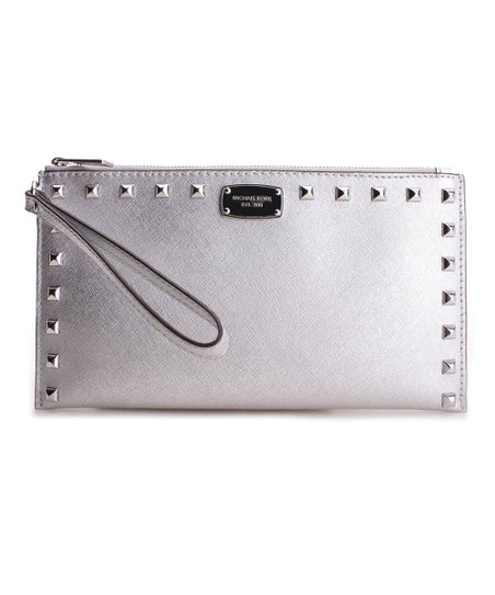 d4b919a61aec Michael Kors Silver Sandrine Studded Leather Clutch | Zulily