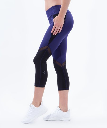 b6ed4756351b9 X by Gottex Indigo & Black Color Block Mesh-Accent Crop Leggings ...