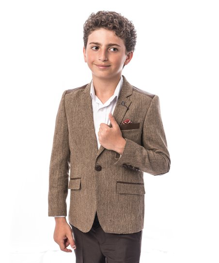 95739675d Elie Balleh Brown Tweed Wool-Blend Blazer - Toddler & Boys | Zulily