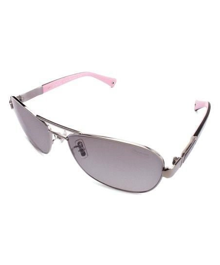 7271b458ceca love this product Silver & Black Contrast Caroline Aviator Sunglasses