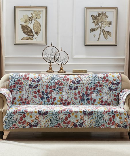 Cool Greenland Home Fashions Periwinkle Red Floral Sofa Furniture Protector Gmtry Best Dining Table And Chair Ideas Images Gmtryco