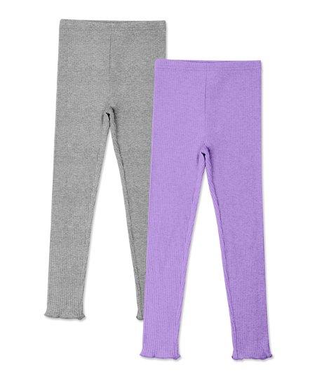 b3c831e45c026 love this product Heather Gray & Lavender Ribbed Leggings Set - Toddler &  Girls