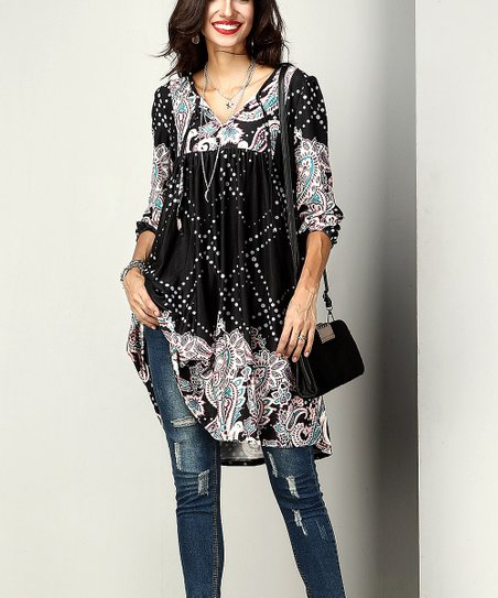 ee5808e9b6c Reborn Collection Black Paisley Tie-Front Tunic - Women | Zulily