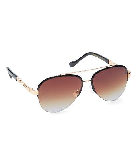 4e0c63da4fb1 Jessica Simpson Collection Black   Gold Aviator Browline Sunglasses ...