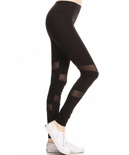 d587820073e4d love this product Black Mesh Stripe Leggings - Women