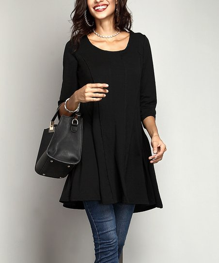 f62309b758e Reborn Collection Black Swing Tunic - Women | Zulily
