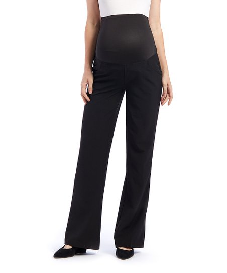 1cb4587dd6df7 Times 2 Black Over-Belly Career Maternity Bootcut Pants | Zulily