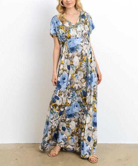 5f40dbd8cd22f Hello Miz Maternity Blue & Mustard V-Neck Long Maternity Maxi Dress ...