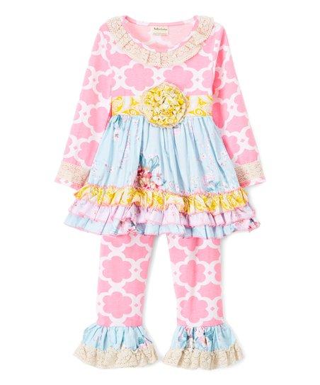 31e1e0fbdcf love this product Pink & Blue Quatrefoil Tunic & Ruffle Pants - Toddler &  Girls