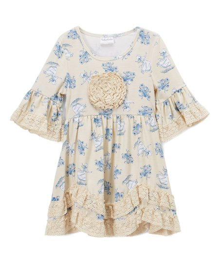 9268200d3 Ruffles by Tutu and Lulu Ivory   Blue Floral Ruffle A-Line Dress - Toddler    Girls