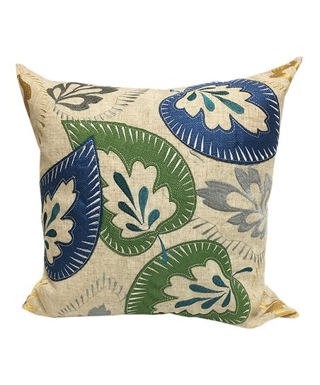Home Accent Pillows Blue   Green Floral Embroidered Throw Pillow ... e704eb54c