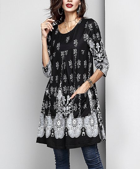 a9e6a9890fd Reborn Collection Black Floral Swing Tunic - Women | Zulily