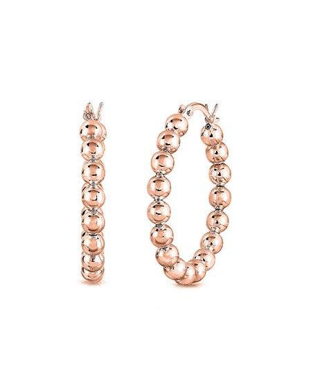Rose Gold Plated Beaded Hoop Earrings