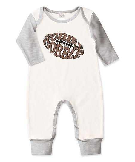 17d453fea7b love this product Ivory   Gray  Gobble Gobble  Football Playsuit - Infant