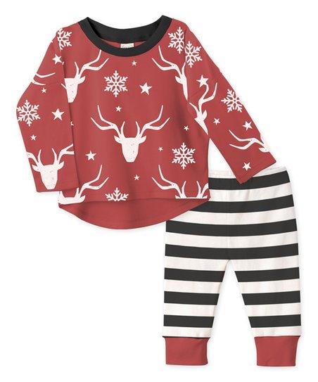 Red Deer Tee & Stripe Pants - Infant