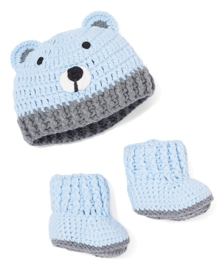 ece868067c1 love this product Blue Bear Crochet Beanie   Bootie Set - Newborn