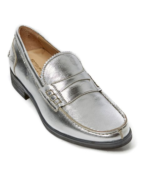 8b865338878 British Passport Silver Leather Penny Loafer - Women