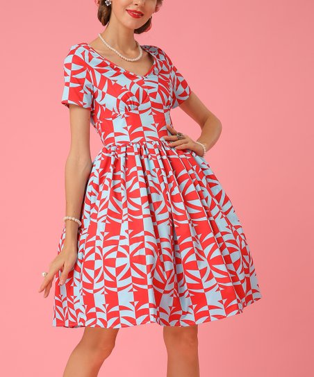 8b1f80c9361 love this product Red   Blue Geometric Fit   Flare Dress - Women