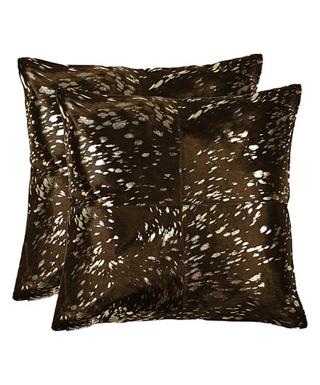 Gold   Chocolate Quatro Torino Cowhide Leather Throw Pillow - Set of Two 6561f5e8a900