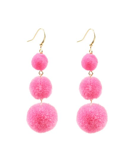 ceb40da14 Eye Candy LA Pink Pom-Pom Drop Earrings | Zulily