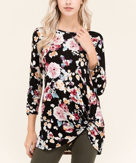 9b9cd4ba73b First Look Black Floral Front-Knot Tunic