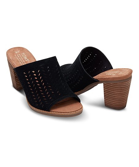 ff45bf2c7fa TOMS Black Perforated Suede Majorca Mule Sandal - Women