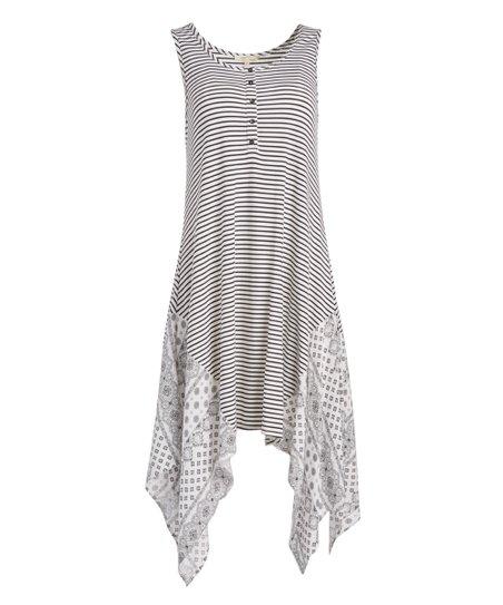 b8f15c7afac love this product Black   White Stripe Handkerchief Dress - Women