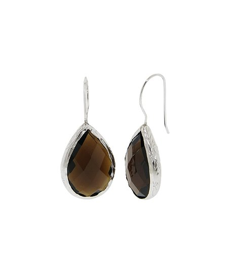 87729d388 Golden Moon Smoky Quartz & Sterling Silver Teardrop Earrings | Zulily