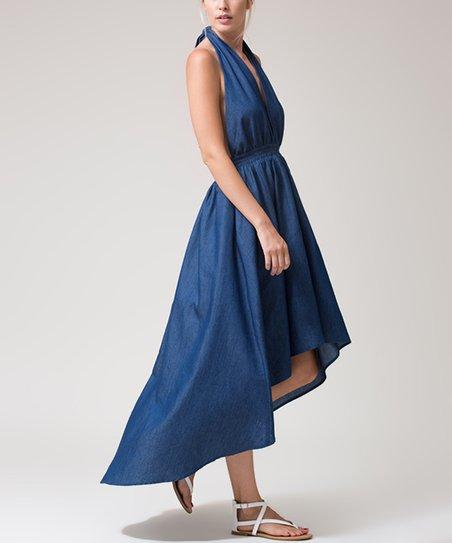 Denim Halter Hi-Low Dress - Women