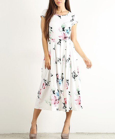 4fb2698fe4f love this product White   Pastel Floral Pleated A-Line Midi Dress - Women