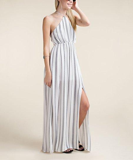 1219d0a3655 love this product White Geometric Cutout Halter Maxi Dress