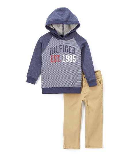e1336e07d love this product Blue Stripe 'Est. 1985' Hoodie & Khaki Pants - Toddler