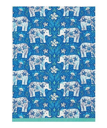 Peking Handicraft Blue Elephant Kitchen Towel Set Of Two