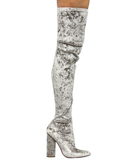 24b62f819dea Cape Robbin Collection Gray Velvet Paw Over-the-Knee Boot - Women ...