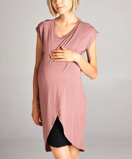 3d9a1dd770d Hello Miz Maternity Mauve & Black Layered Maternity/Nursing Dress ...