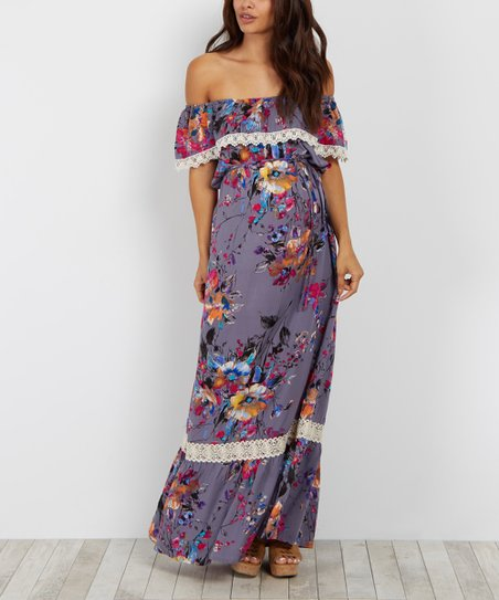 30f55134960f PinkBlush Maternity Gray Abstract Floral Off-Shoulder Maternity Maxi ...