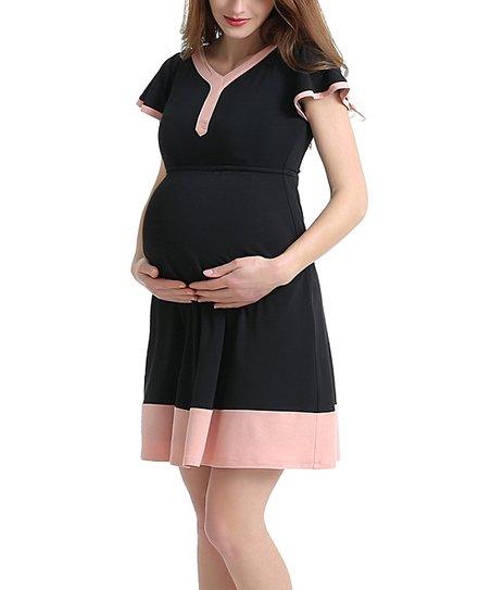 ecae5f2d4a0 Kimi + Kai Maternity Kimi + Kai Black   Pink Regan Maternity Dress ...