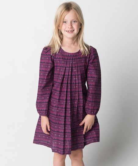 e93db8f0e420 Yo Baby Purple Geometric Pleated Shift Dress - Girls