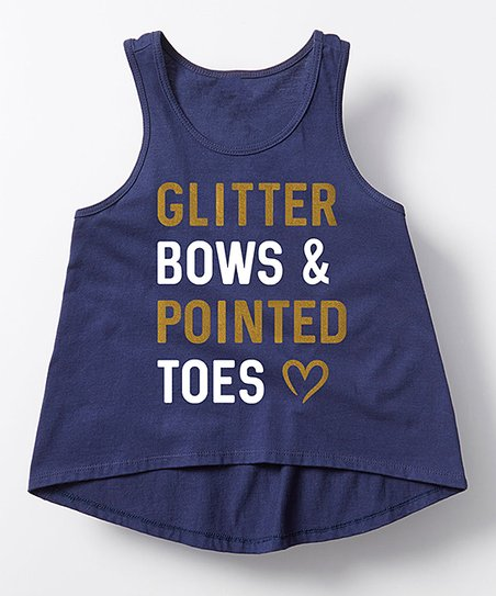 9be85284537d love this product Navy 'Glitter Bows & Pointed Toes' Hi-Low Tank - Girls