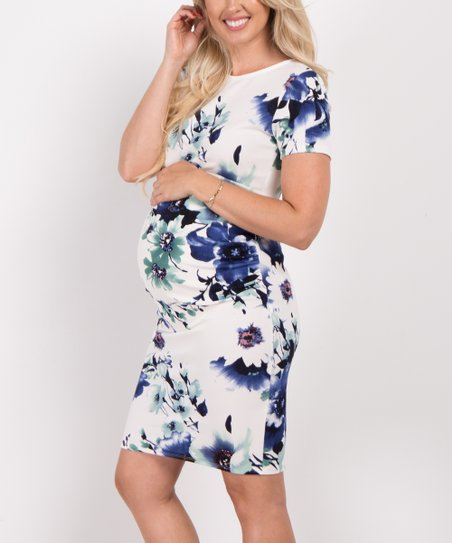557b79c9fd8e4 PinkBlush Maternity Blue Floral Short Sleeve Fitted Maternity Dress ...
